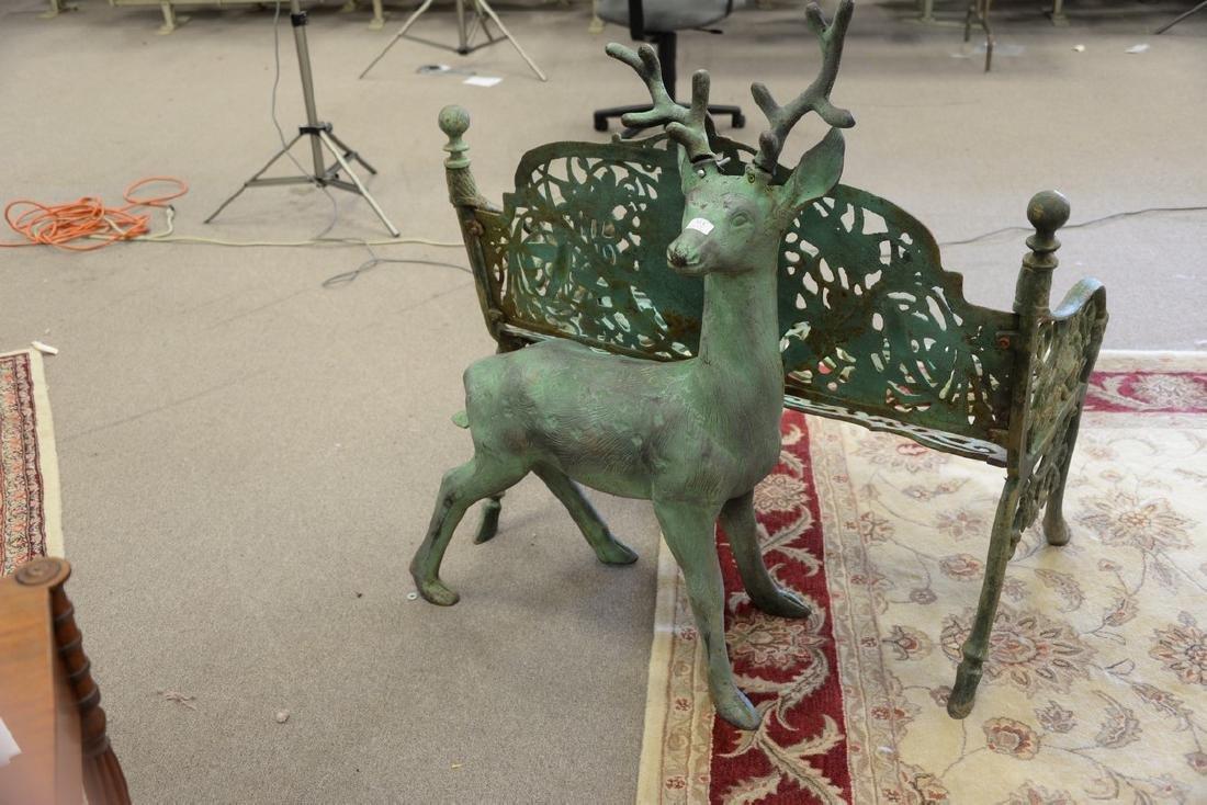 Cast iron outdoor garden deer statue, young buck. ht. - 2
