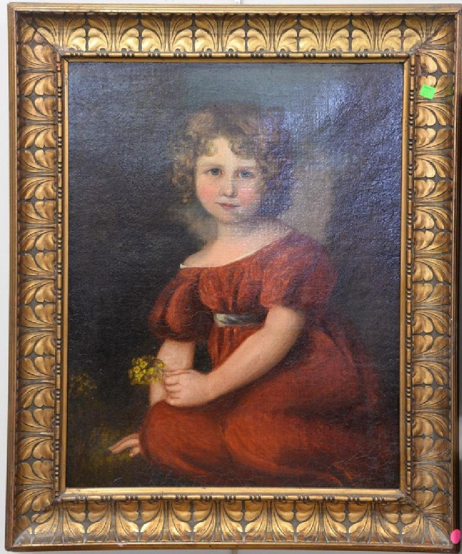 19/20th Century portrait of a young girl in a red dress