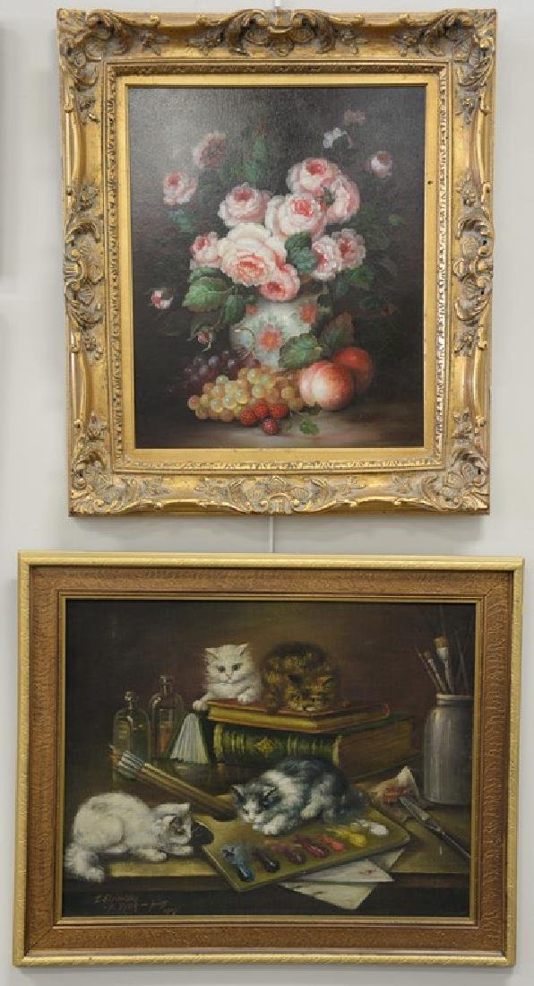 Two piece lot to include an oil on cloth of kittens