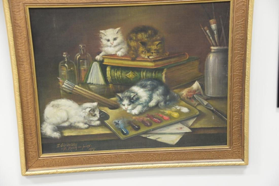 Two piece lot to include an oil on cloth of kittens - 2