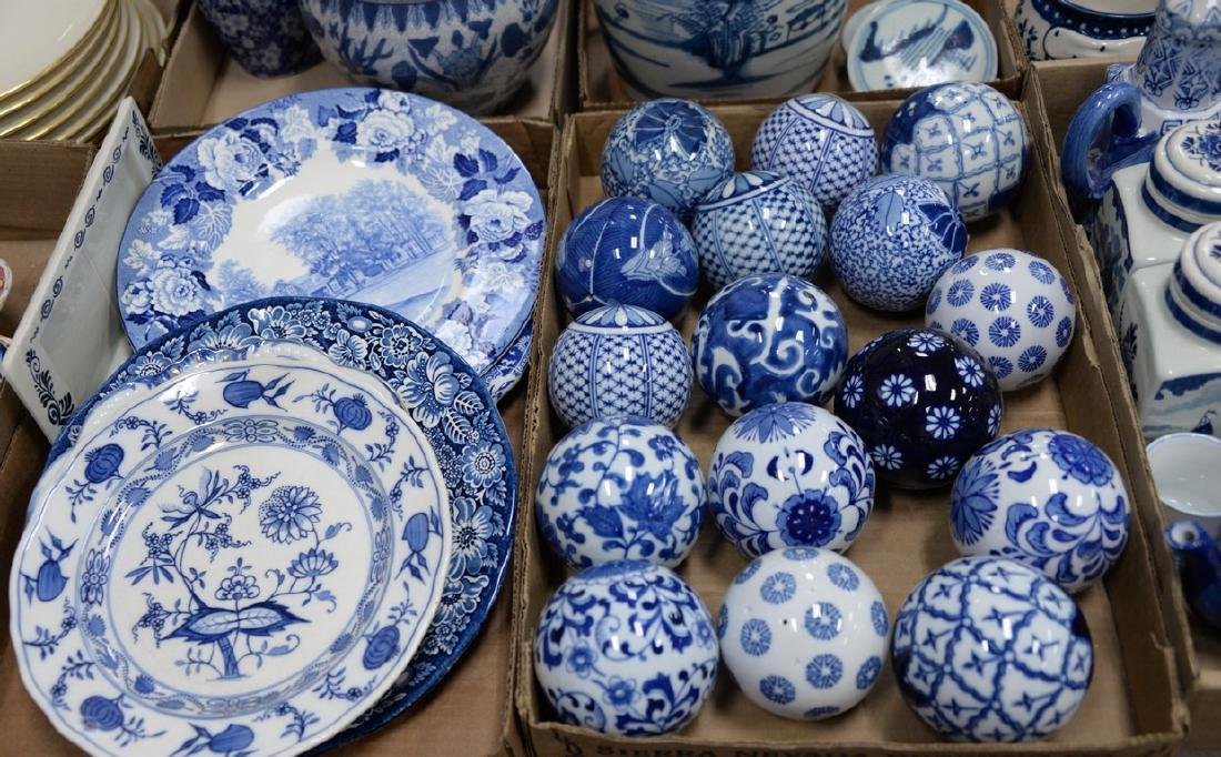 Five box lots of blue and white china to include