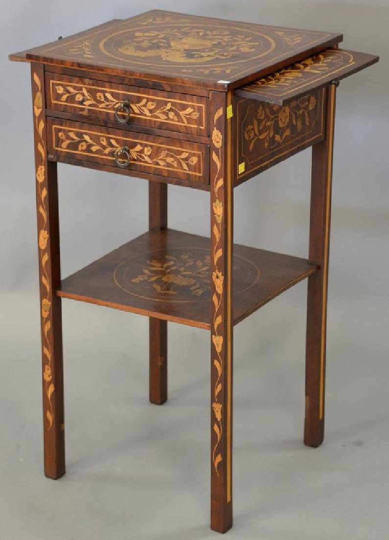Marquetry inlaid mahogany two door stand, late 19th