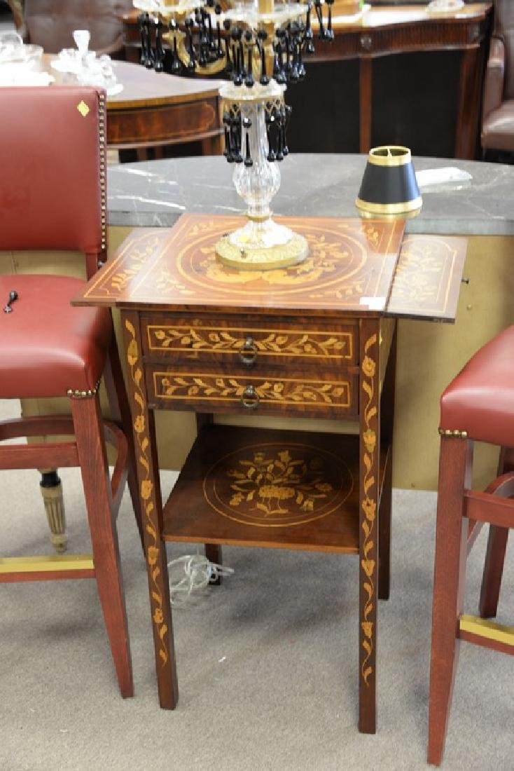 Marquetry inlaid mahogany two door stand, late 19th - 2