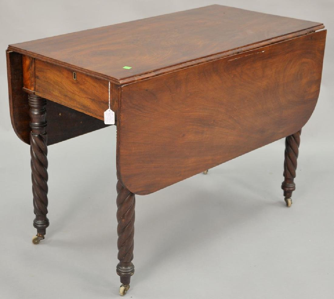 Sheraton mahogany drop leaf table with a drawer. ht. 27