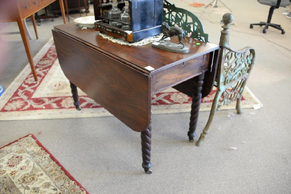 Sheraton mahogany drop leaf table with a drawer. ht. 27 - 2