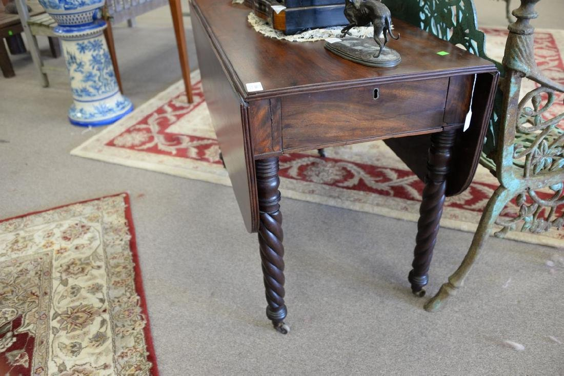 Sheraton mahogany drop leaf table with a drawer. ht. 27 - 3
