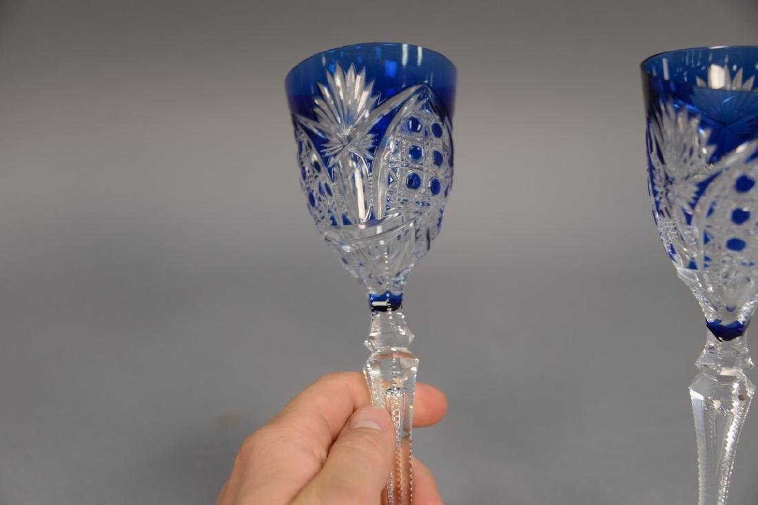 Set of ten Val St. Lambert cobalt blue cut to clear - 2