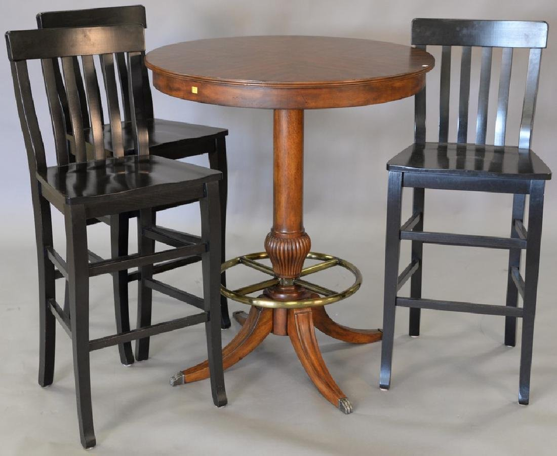 high top round table with three bar chairs. ht. 42in.,