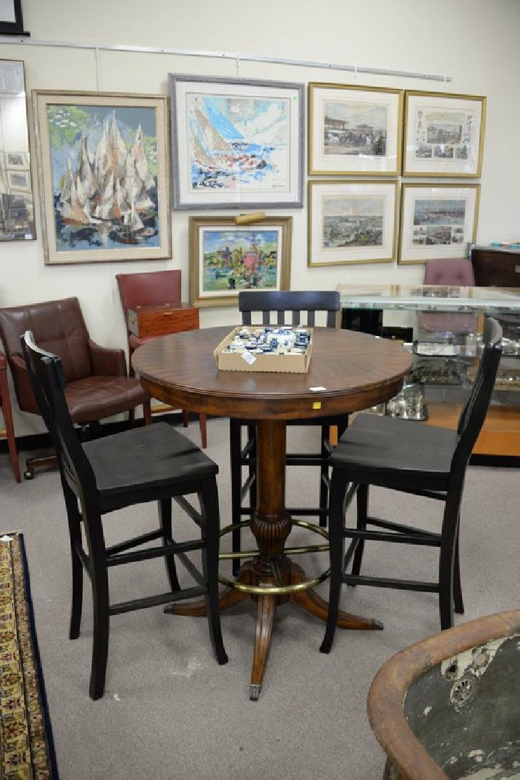 high top round table with three bar chairs. ht. 42in., - 2