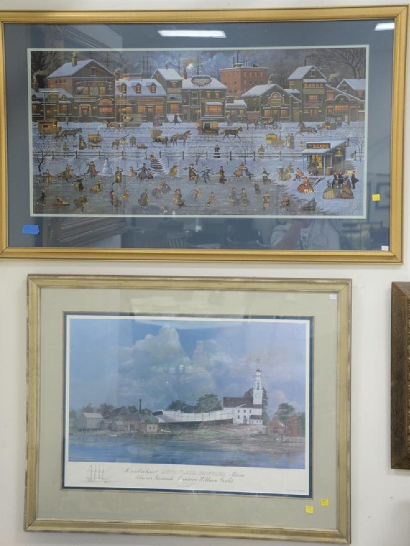 Four piece lot including Charles Wysocki print, David