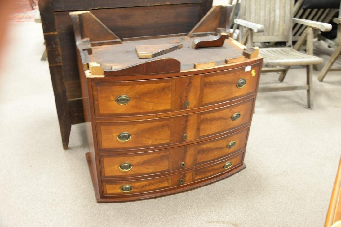 Federal mahogany inlaid bow front chest with scallop - 2