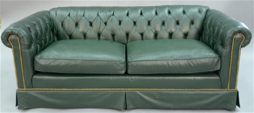 Sensational Green Leather Chesterfield Sofa With Two Cushions Onthecornerstone Fun Painted Chair Ideas Images Onthecornerstoneorg