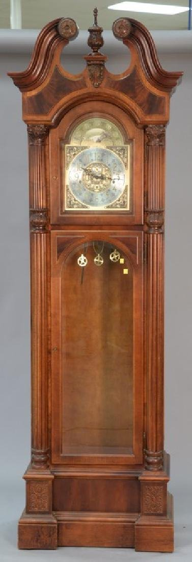 howard miller mahogany tall clock with brass weights