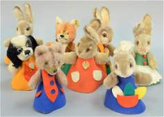 Lot of eight Steiff stuffed animals including Hide a
