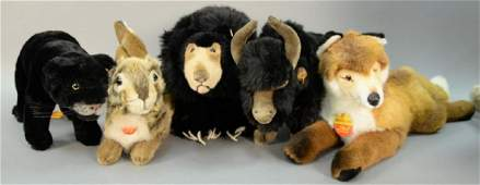 Group of five large Steiff stuffed animals including