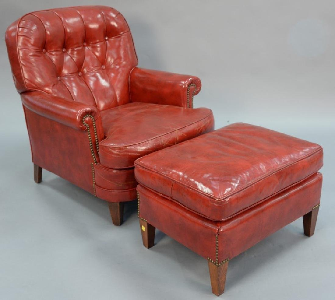 two piece lot to include red leather chair and ottoman