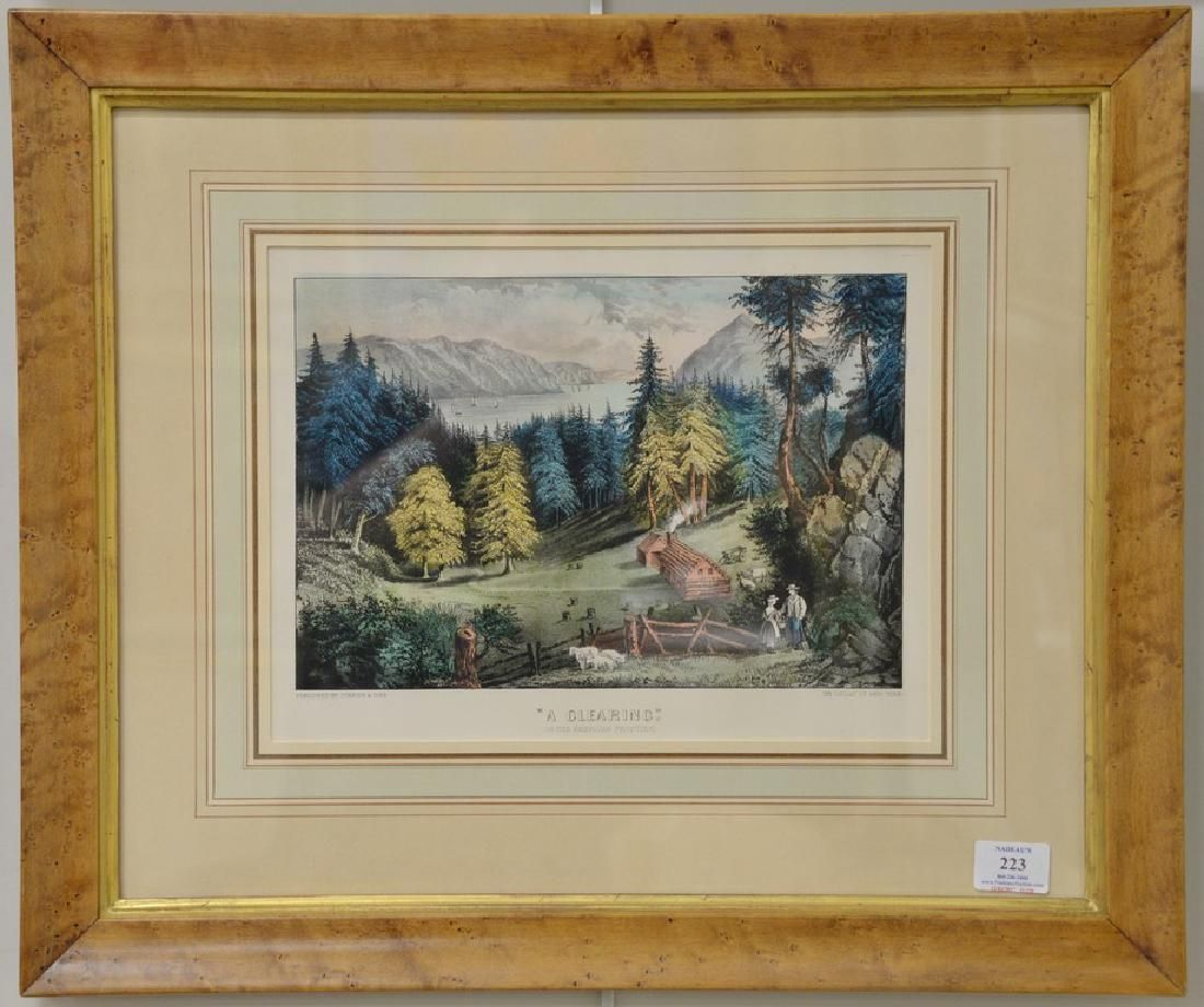 Pair of Currier & Ives colored lithographs including