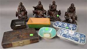 Ten piece group of Asian Items to include set of four