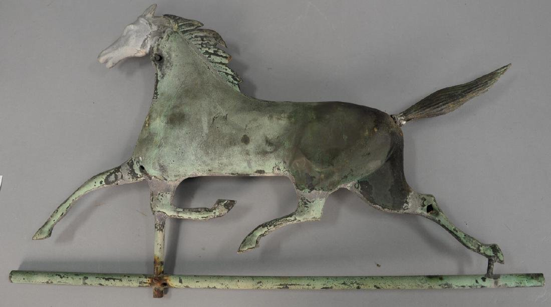Copper horse weathervane, full body running horse with