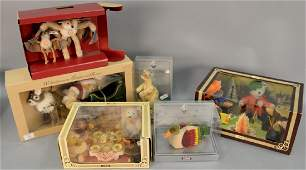 Group of five Steiff stuffed animal sets in original