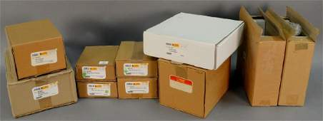 Group of ten Steiff stuffed animals in original boxes