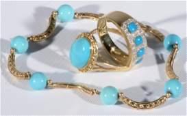 Three piece lot having two 14 karat gold rings set with