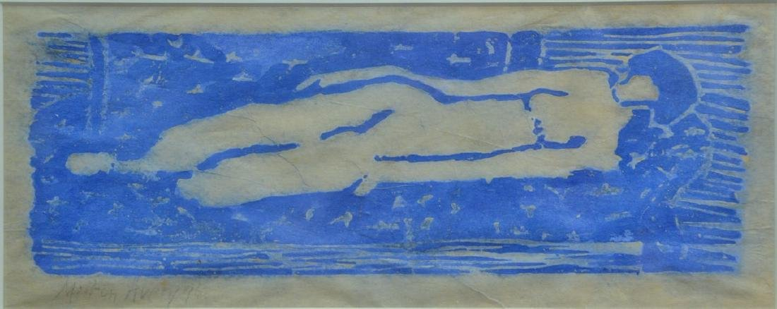 Milton Avery (1885-1965), woodcut printed in blue,
