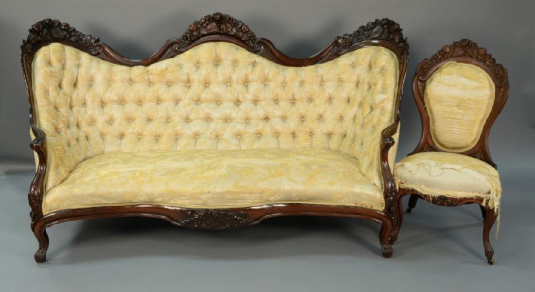 John Henry Belter, Rosalie pattern, two piece set to