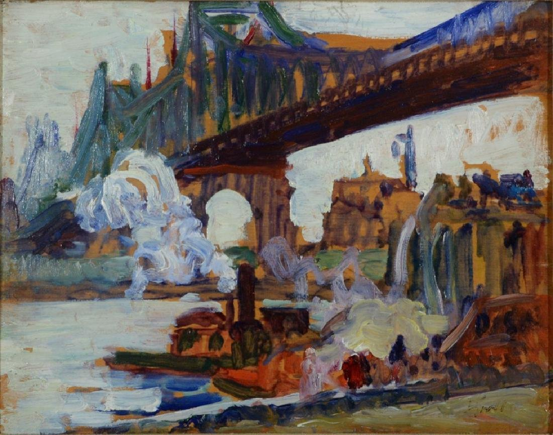 "Leon Kroll (1884-1974), oil on panel, ""Queensboro"