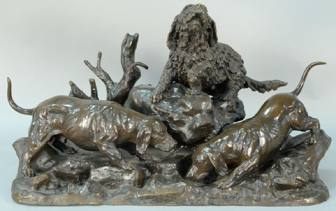 Jules Moigniez (1835-1894) bronze, Fox Hole with group