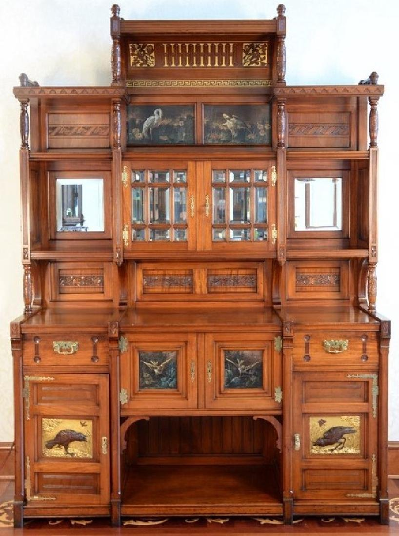 Aesthetic Movement Mahogany Sideboard In Two Parts,