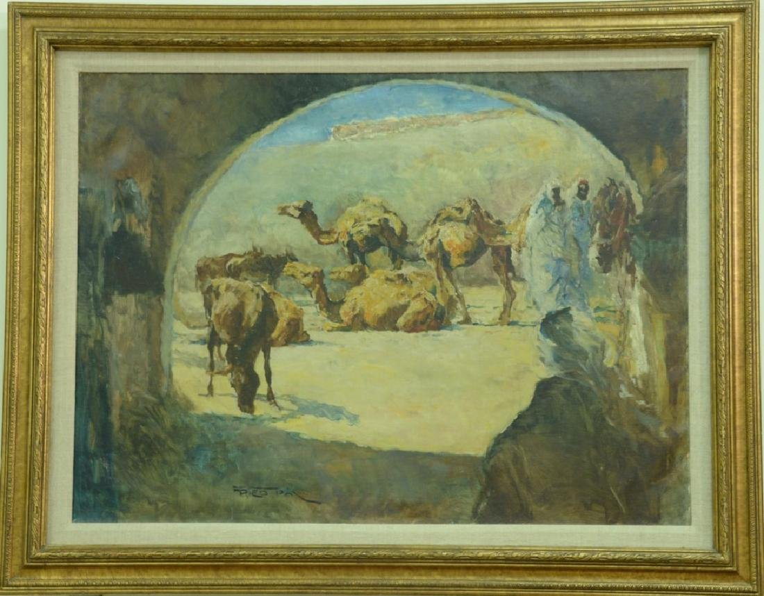 Pal Fried (1893-1976), oil on canvas, Camels in