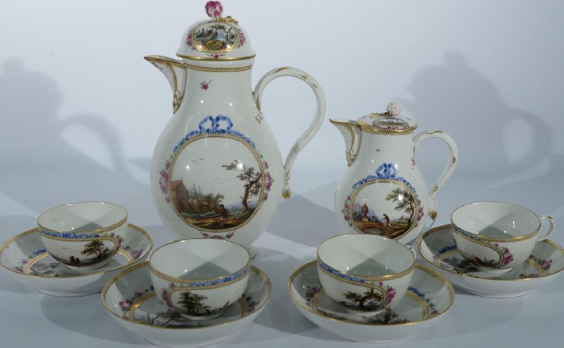 Ten piece late 18th century Meissen porcelain tea set