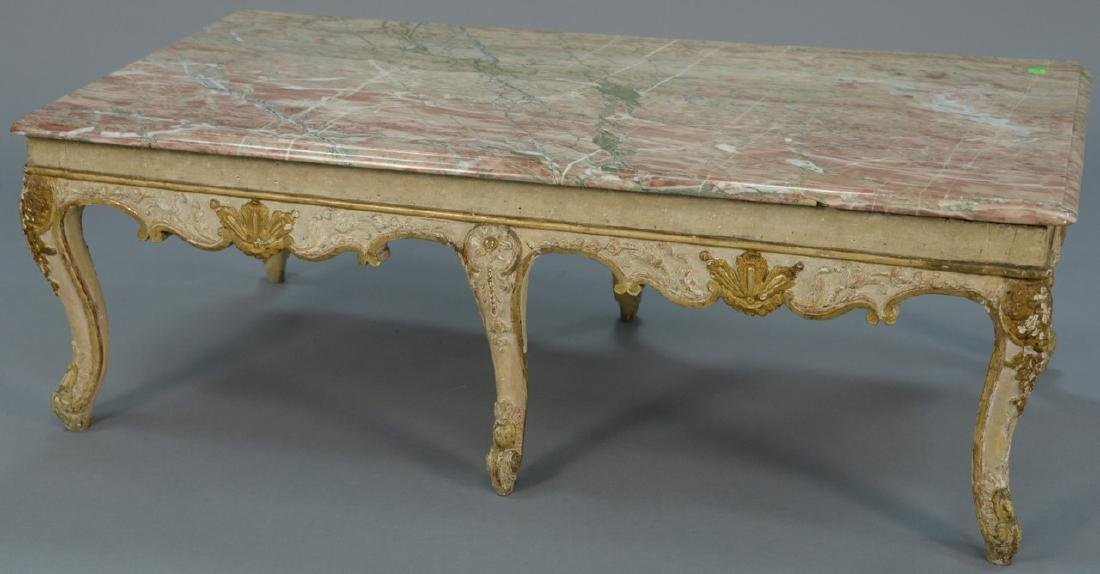 Louis XV style coffee table with rouge marble top, set