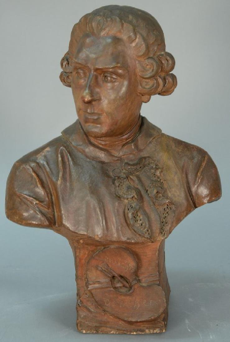 Terracotta bust of Francois Boucher signed illegibly on