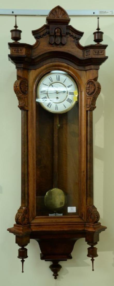 Seth Thomas walnut regulator clock with single brass