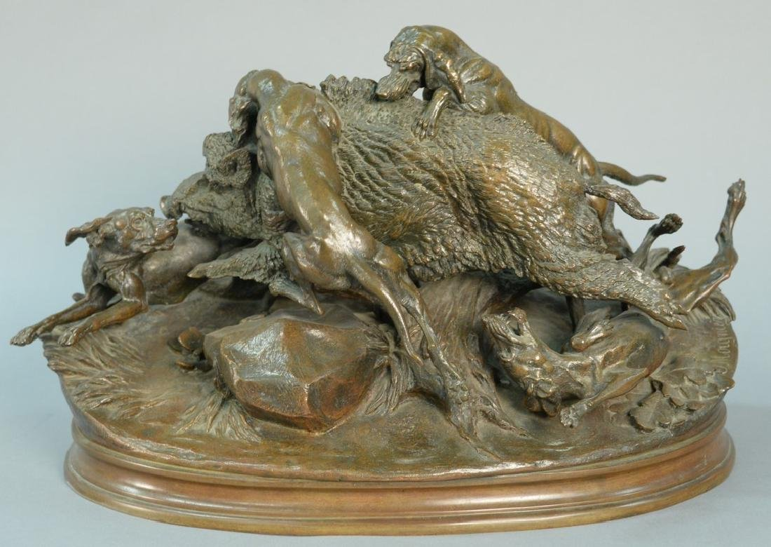 Jules Moigniez (1835-1894) bronze Boar Hunt with four
