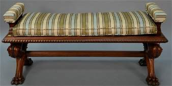 Carved walnut Victorian bench with upholstered cushion