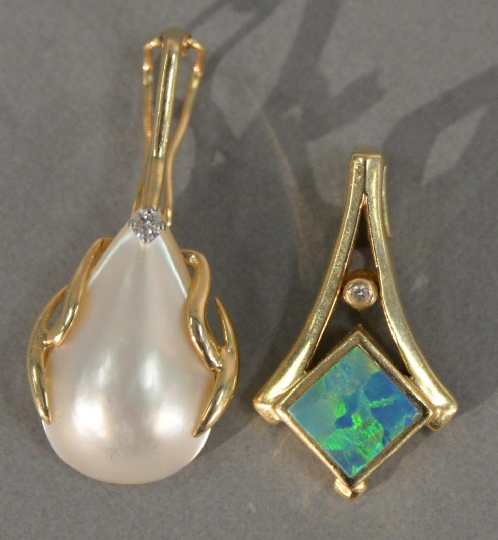 Two 14K pendant, one set with opal and small diamond,