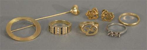 14K gold lot with two rings, one set with diamonds and