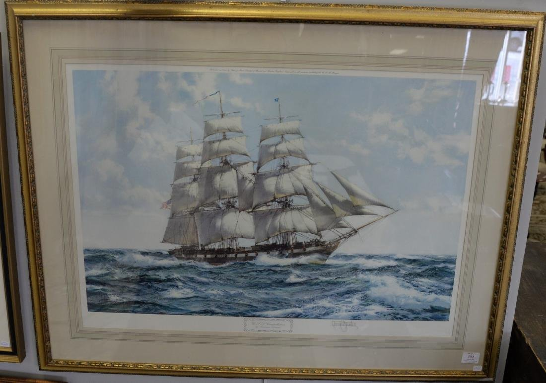 Two piece framed lot to include Montague Dawson print,