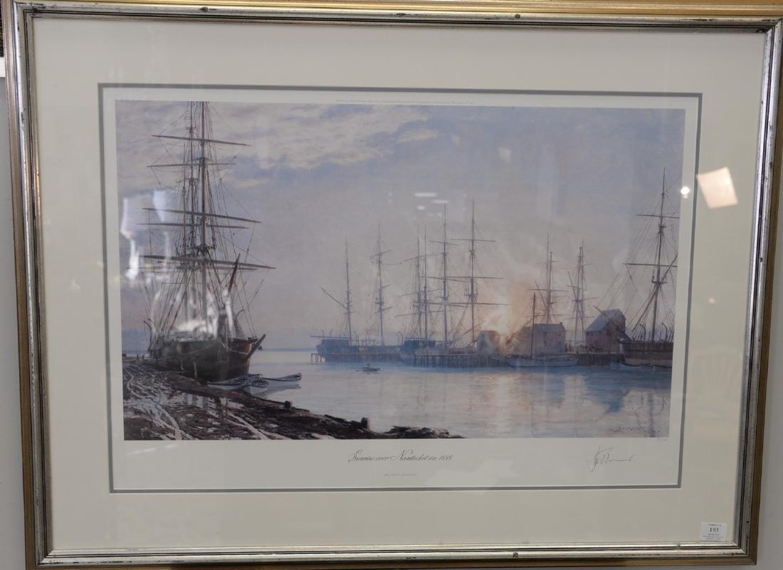 """John Stobart colored print """"Sunrise over Nantucket in"""
