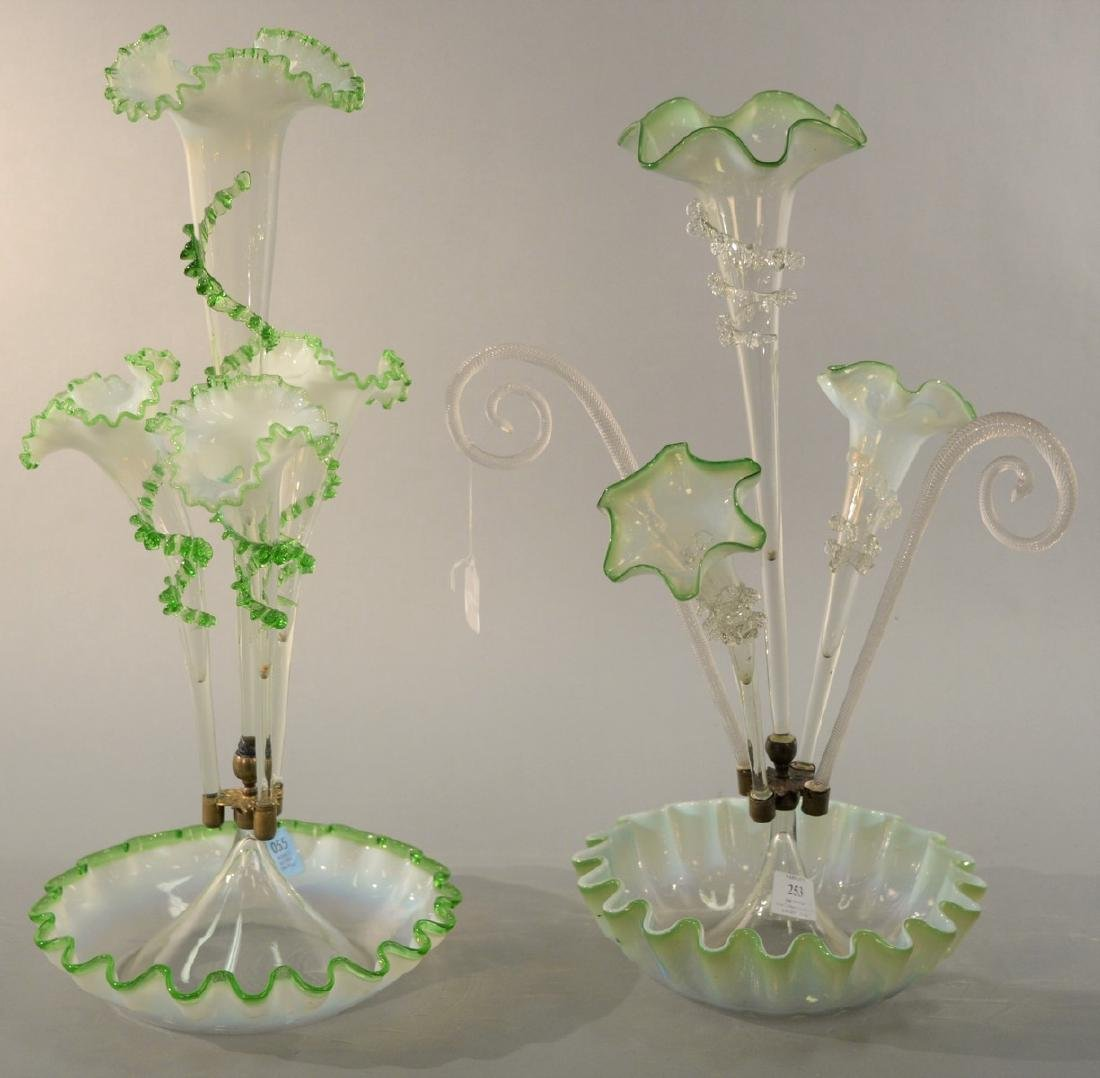 Two Victorian glass epergnes, one with ruffle rim bowl