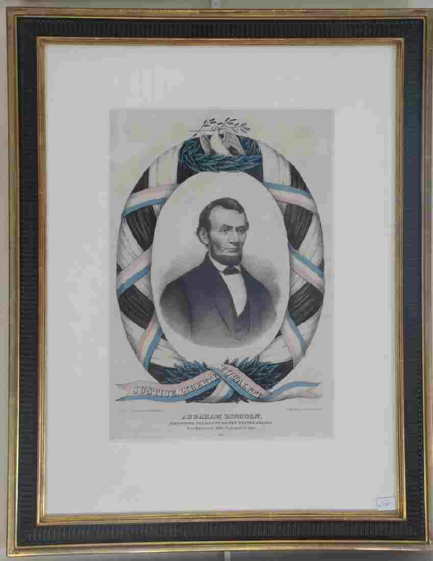 "Two framed lithographs including Currier & Ives ""I Gave"