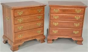 Ethan Allen dark cherry pair of four drawer diminutive