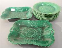 Ten piece Wedgwood Majolica lot with eight plates and