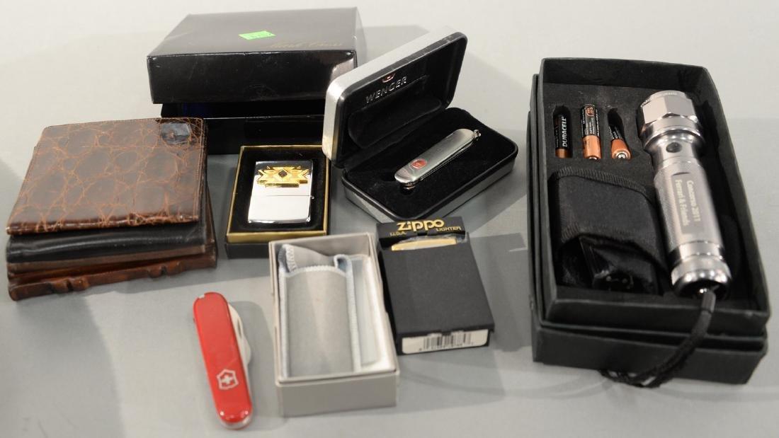 Mark Cross leather wallet, Coach wallet, two Swiss Army
