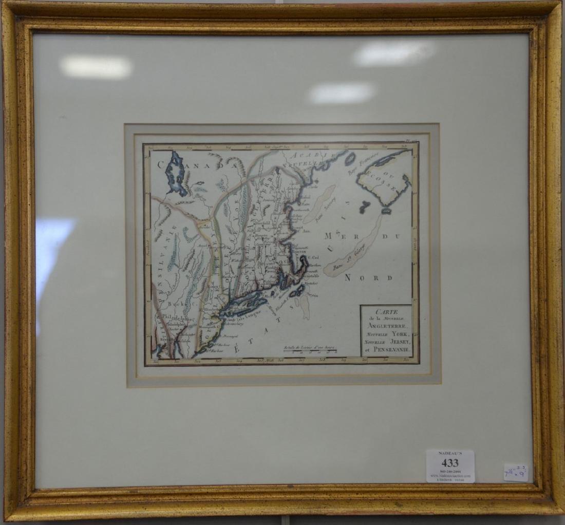 Hand colored engraved map of New England, Carte de la