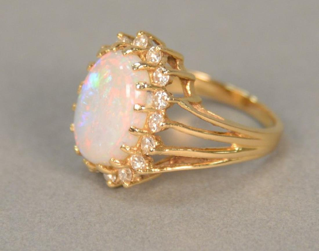14K opal and diamond ring.