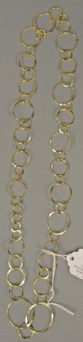 14K gold necklace of circles, 13 grams